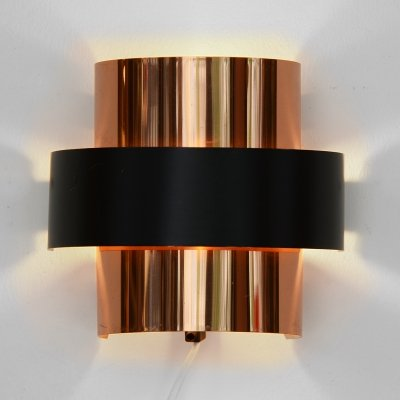 Copper wall light/sconce by Werner Schou for Coronell Elektro, Denmark 1970s