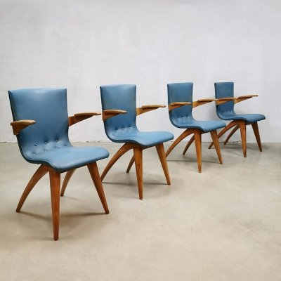 Set of 4 vintage Dutch design dining chairs by G. van Os Culemborg