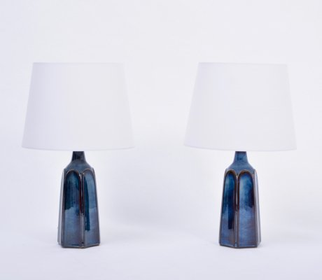 Pair of tall blue Stoneware table lamps Model 1042 by Einar Johansen