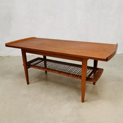 Vintage Dutch design webbing coffee table