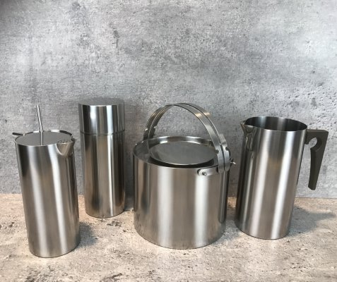 Set of Arne Jacobsen Cylinda Line items by Stelton, 1990s