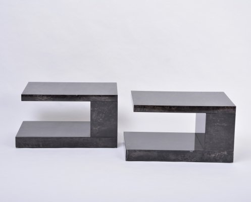 Pair of lacquered goat skin side tables by Aldo Tura