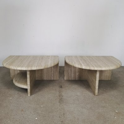 Set of 2 travertine night stands, 1980s