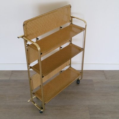Faux rattan foldable serving cart, 1960s