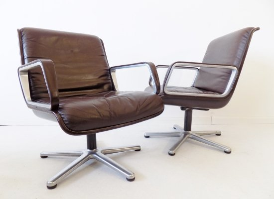 Wilkhahn Delta 2000 set of 2 brown leather lounge chairs by Delta Design