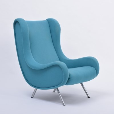 Blue Mid-Century Modern Marco Zanuso Senior Lounge Chair