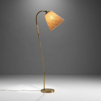 Brass Floor Lamp by Paavo Tynell for Idman Oy, Finland 1950s