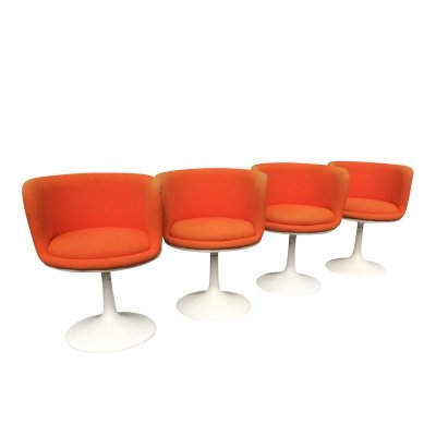 Set of 4 Fiberglass swivel dining chairs by TopForm, 1970s