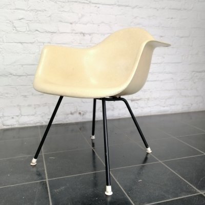 Yellow Eames DAX rope edge arm chair, 1950s