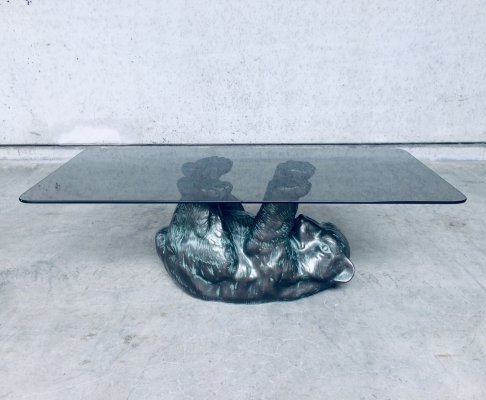 Unique Design Sculptural Black Bear Coffee Table, 1970's