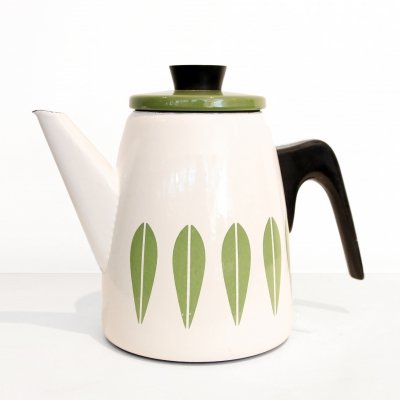 White & Green Enamel Cathrineholm teapot by Grete Prytz Kittelson