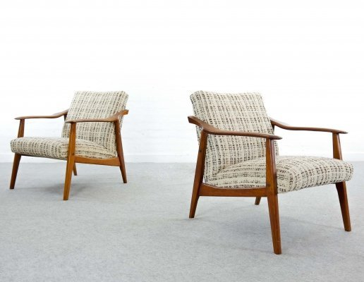 Pair of Vintage Scandinavian Easy Chairs in Teak, 1960s