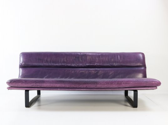 Artifort purple leather three seater sofa by Kho Liang Ie