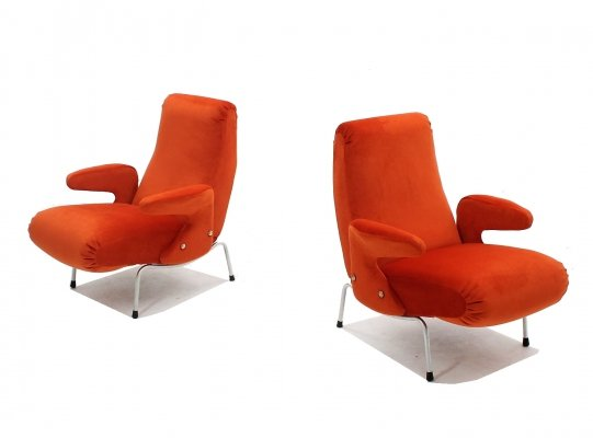 Pair of Delfino armchairs by Arflex, 1950s