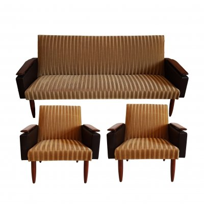Vintage 3 seater sofa with 2 arm chairs, 1960s