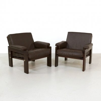 Pair of wengé & leather armchairs, 1970s