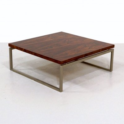 Vintage square rosewood coffee table, 1970s
