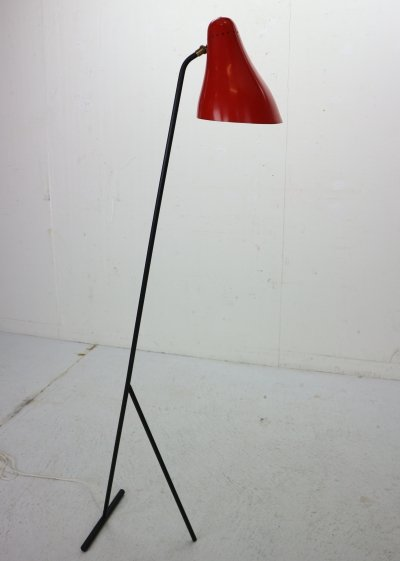 JJM Hoogervorst Anvia 'Model 1503' Red Floor Lamp, 1955
