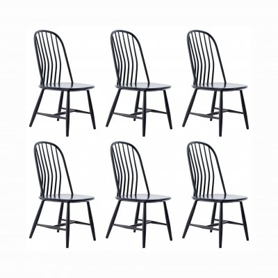 Set of 6 Swedish Black Wood Dining Chairs by Bengt Akerblom & Gunnar Eklöf, Sweden, 1950s