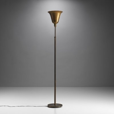 Danish Mid-Century Uplight Floor Lamp in Brass, Denmark 1940s