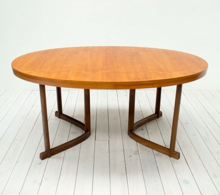 Mid Century Danish Teak & Afromosia Oval Extending Dining Table