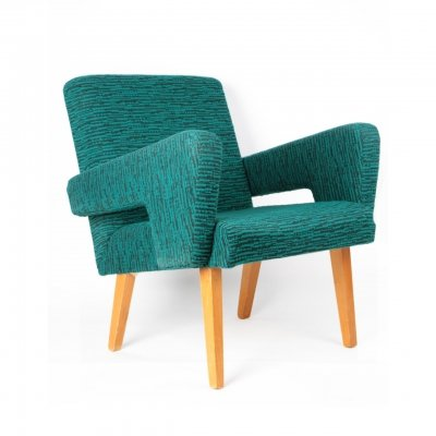 Blue-green armchair with upholstered armrests by Jitona, 1960s