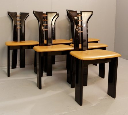 Set of 12 Sculptural Black Lacquer Pierre Cardin Chairs With Leather Seats, 1970s