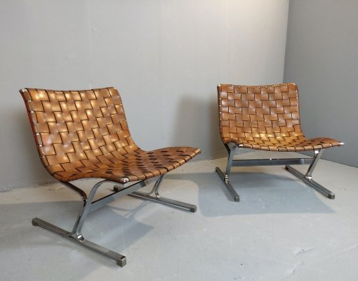Pair of Italian Lounge Chairs by Ross Littell, Italy 1960s
