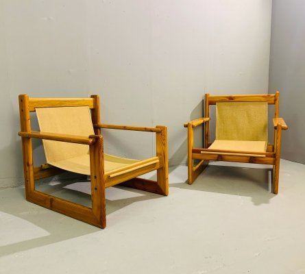 Pair of Safari Pine Armchairs