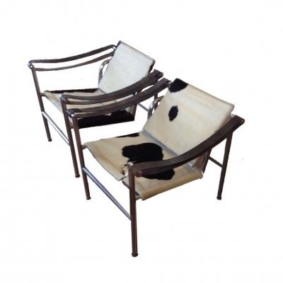 Pair of LC1 Armchairs by Le Corbusier, P. Jeanneret & C. Perriand for Cassina, 1970's