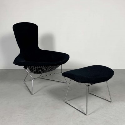 Bird Lounge Chair plus Ottoman by Harry Bertoia for Knoll, 1960s
