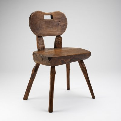 Primitive Round-Back Alpine Chair, France Early 1900s