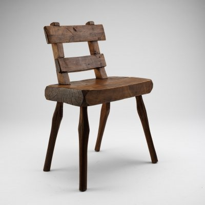 Primitive Ladder-Back Alpine Chair, France Early 1900s