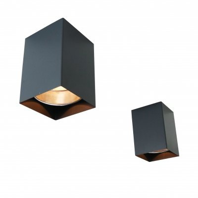 Pair of grey cube ceiling lights, 1960s