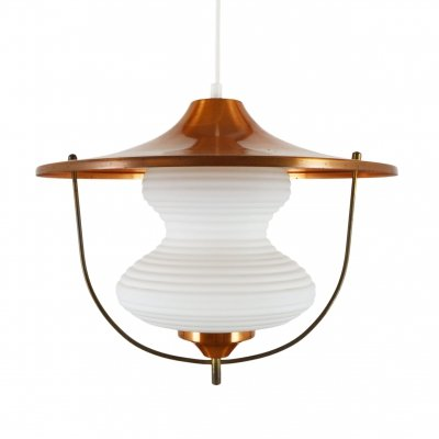 Vintage Copper & glass pendant lamp, 1960s