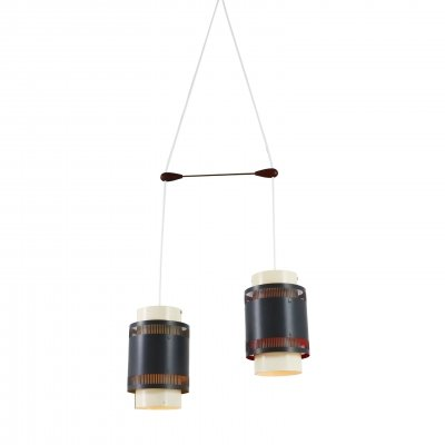 Dual light Scandinavian pendant light, 1960s