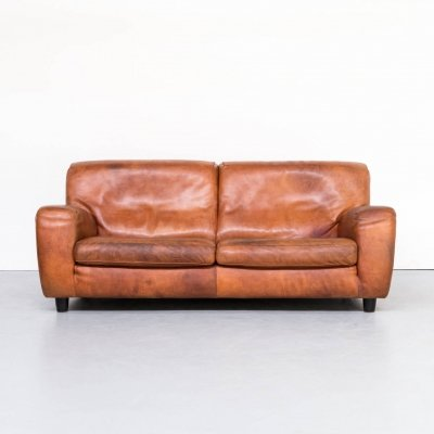 70s Molinari handmade thick cognac leather fat boy sofa