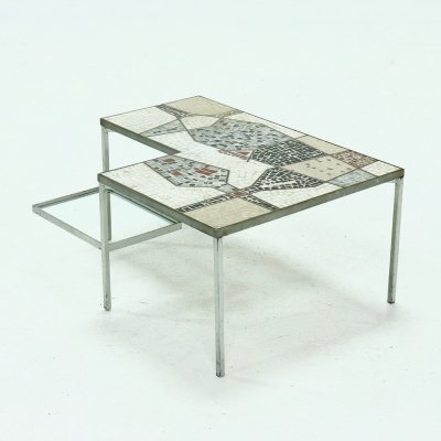 Two Tier Cocktail Table with Mosaic Inlay, 1960s