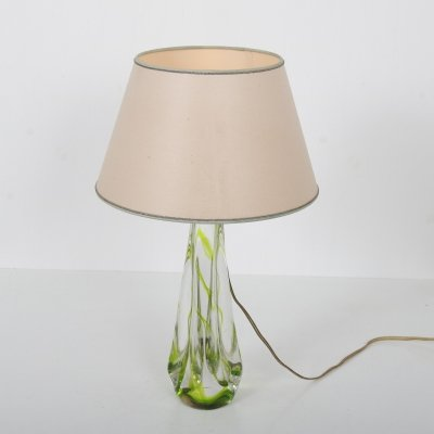 1950s Glass table lamp by Kristalunie Maastricht, Netherlands