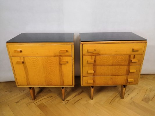 Pair of Night tables with black opaxite top, Czechoslovakia 1960s