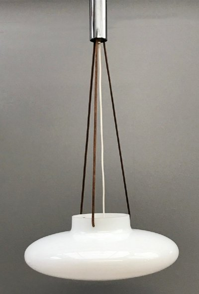 Opaline Glass Pendant Lamp With Adjustable Leather Cords, Italy 1960s