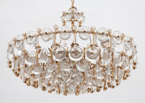Large Crystal & Gilt Chandelier by Palwa, Germany 1970s