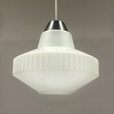 Vintage Philips pendant lamp with opaline glass by Louis Kalff, 1960's