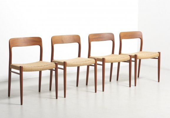 Set of 4 Dining Chairs in Teak & Paper-cord by Niels O. Møller, Denmark 1954