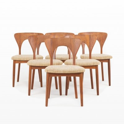 Set of 6 Peter dining chairs by Niels Koefoed for Koefoeds Hornslet, 1960s