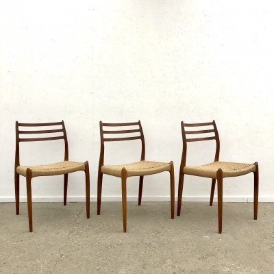 3 model 78 Møller chairs in teak with paper cord, Denmark 1960s