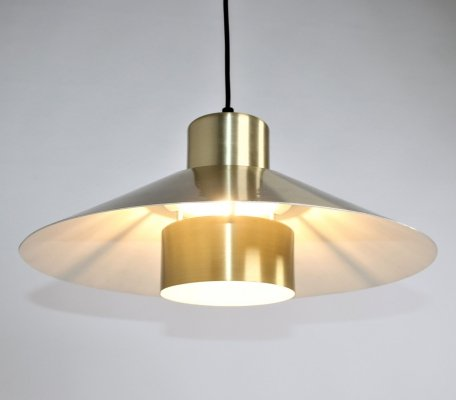 Danish gold colored pendant lamp, 1960s