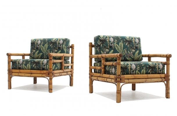 Pair of Vintage rattan armchairs by Vivai del Sud, 1970s