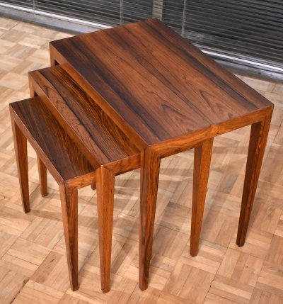 Severin Hansen Rosewood Nest of Tables for Haslev