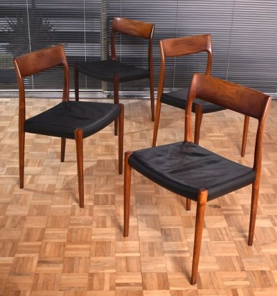 Set of 4 Niels O. Møller Model 77 Brazilian Rosewood Chairs